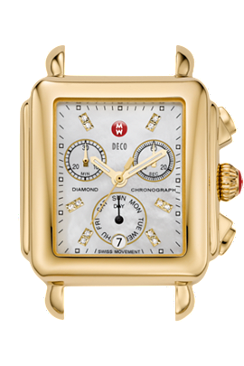 Michele Watches - Deco Day Gold-Plated Diamond Dial Head