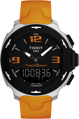 T-Race Touch Men's Black Stainless Steel Quartz Watch With Orange Strap at Tourneau