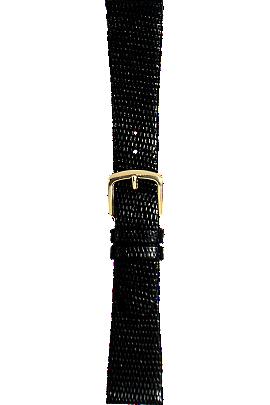 18 mm Black Lizard Strap at Tourneau