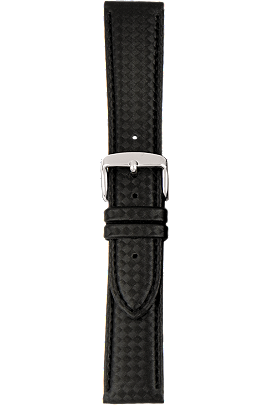 18 mm Black Leather Strap with Carbon-Fiber Finish at Tourneau