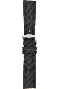 18 mm Black Kevlar Grain Leather Strap at Tourneau
