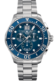 Tag Heuer Aquaracer Quartz Chronograph with Blue Aluminum 43mm at Tourneau