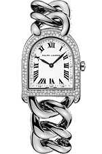 Ralph Lauren Stirrup Petite-Link Steel, Snow-Set Diamond Case RLR0040002