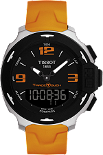 T-Race Touch Men's Black Stainless Steel Quartz Watch With Orange Strap at Tourneau